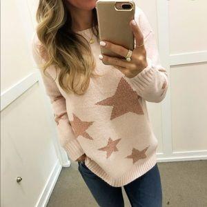 Loft light pink star sweater
